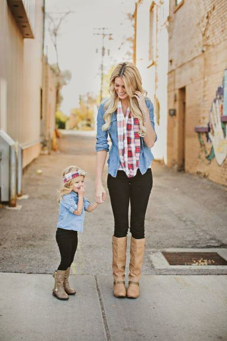 Mommy and Me Outfit (leggings and chambray shirt)