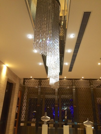 Chandeliers by the elevators