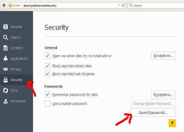 Security saved passwird