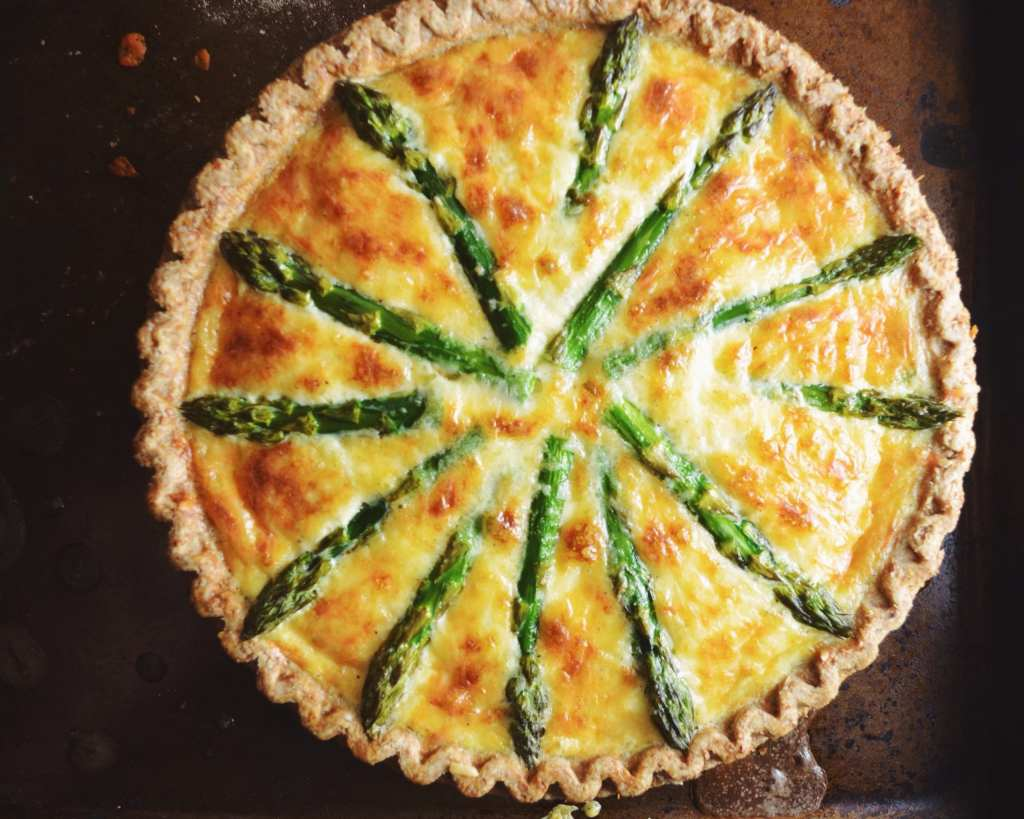 Shrimp, Asparagus, and Gruyere Quiche - My Modern Cookery