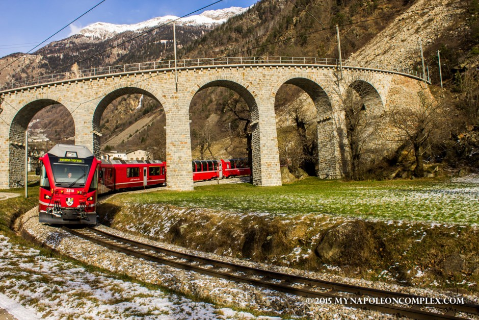 Picture of Rhaetian Railway in Brusio Viaduct, Switzerland