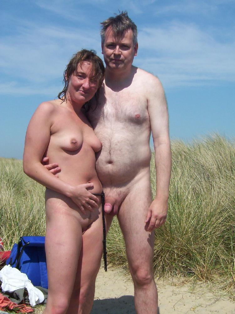 Speaking, Naked dad and daughter on beach
