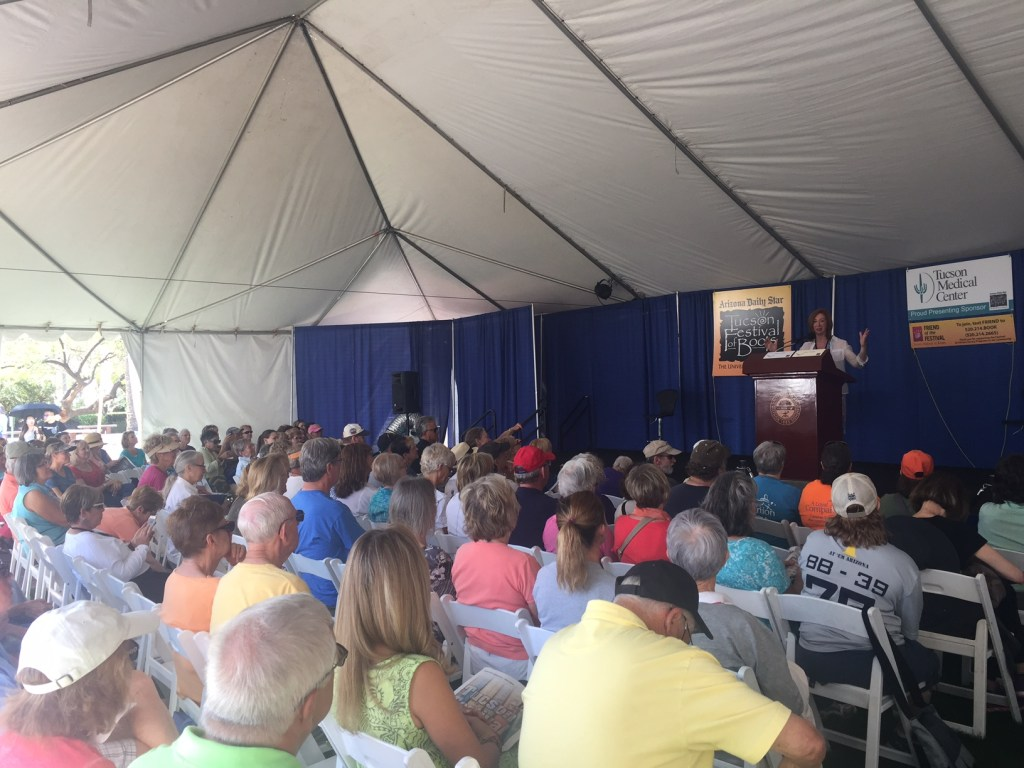 """My Old Dog"" author Laura Coffey speaks on the topic ""No Dog Should Die Alone"" in the Arizona Daily Star tent at the Tucson Festival of Books on March 12, 2017."