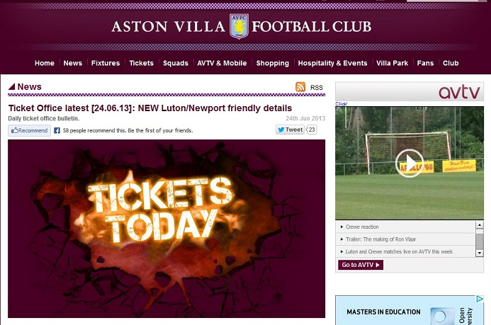 Villa Ticket Sales Newport