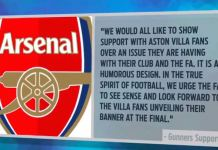 arsenal wembley flag statement