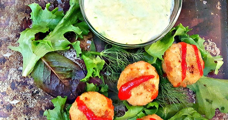Gardein Mini Crispy Crabless Cakes with Spicy Avocado Dill Sauce | My Pretty Brown Fit