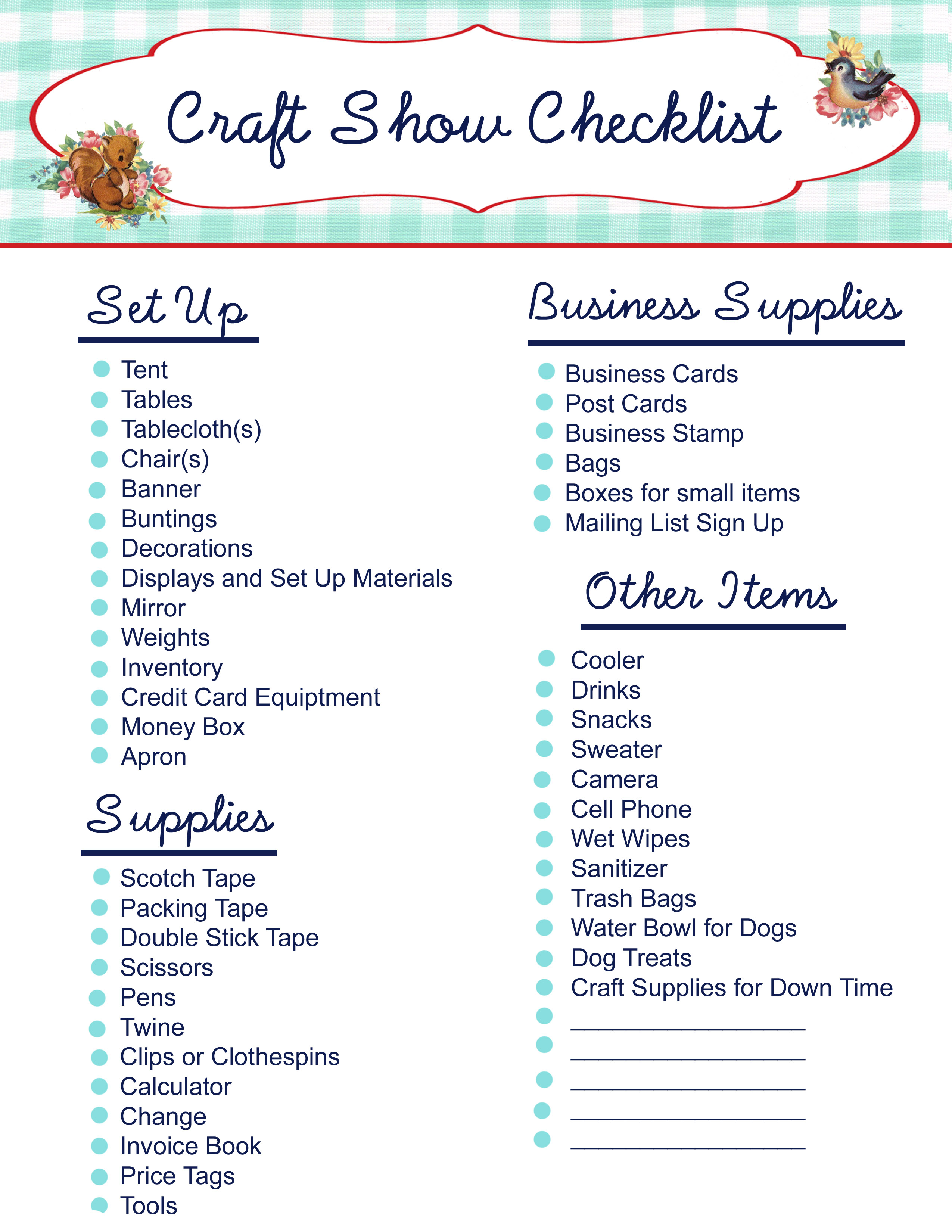 Free printable craft show checklist my so called crafty for Craft supply trade shows