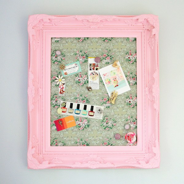 Diy framed vintage wallpaper magnetic board my so called - Simple ways of keeping your home organized using magnetic picture frames ...