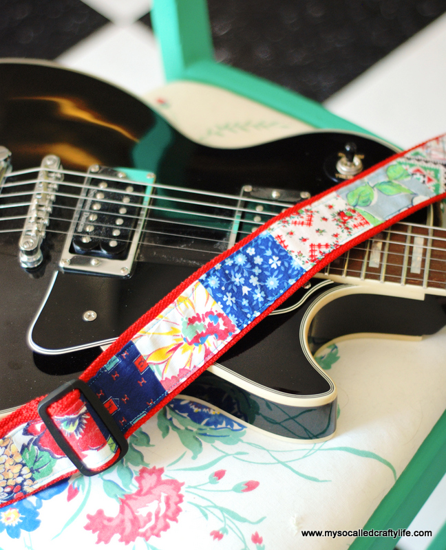 diy patchwork vintage fabric guitar strap