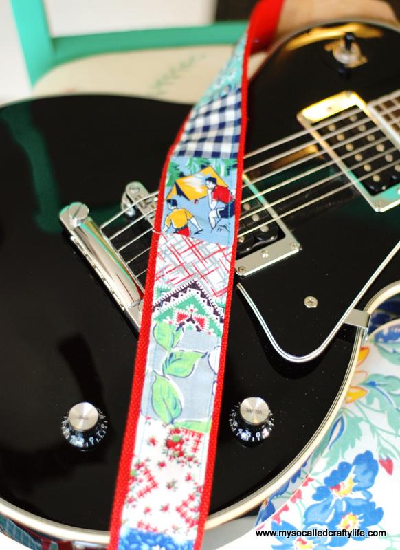 handmade vintage fabric embellished guitar strap