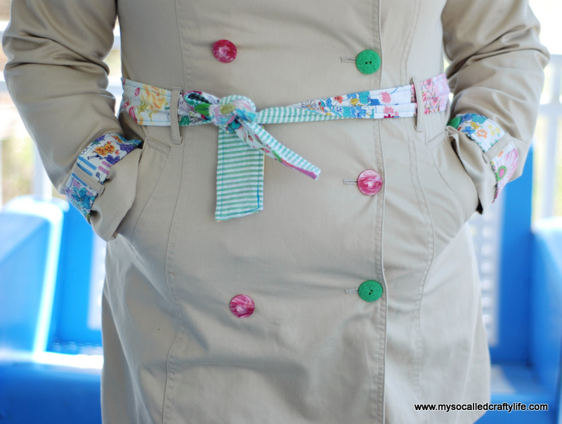 vintage fabric embellished trench