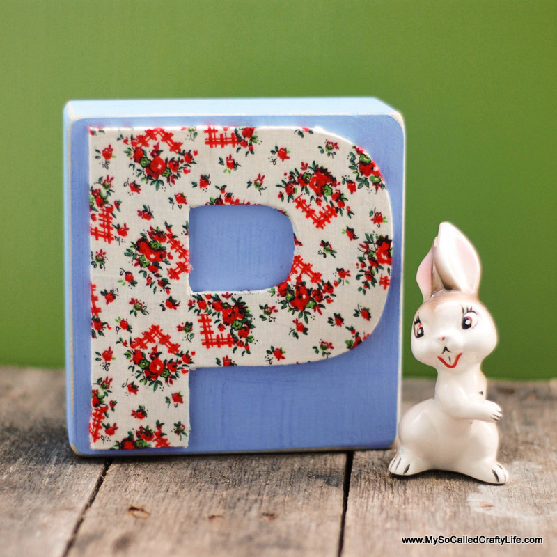 fabric covered wooden letters