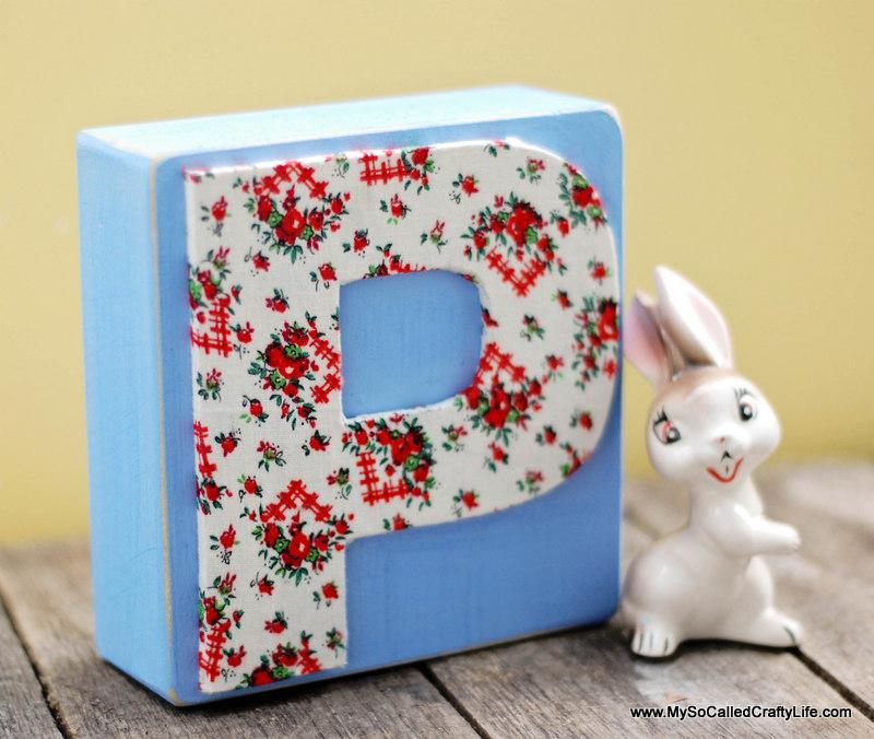 floral letter block