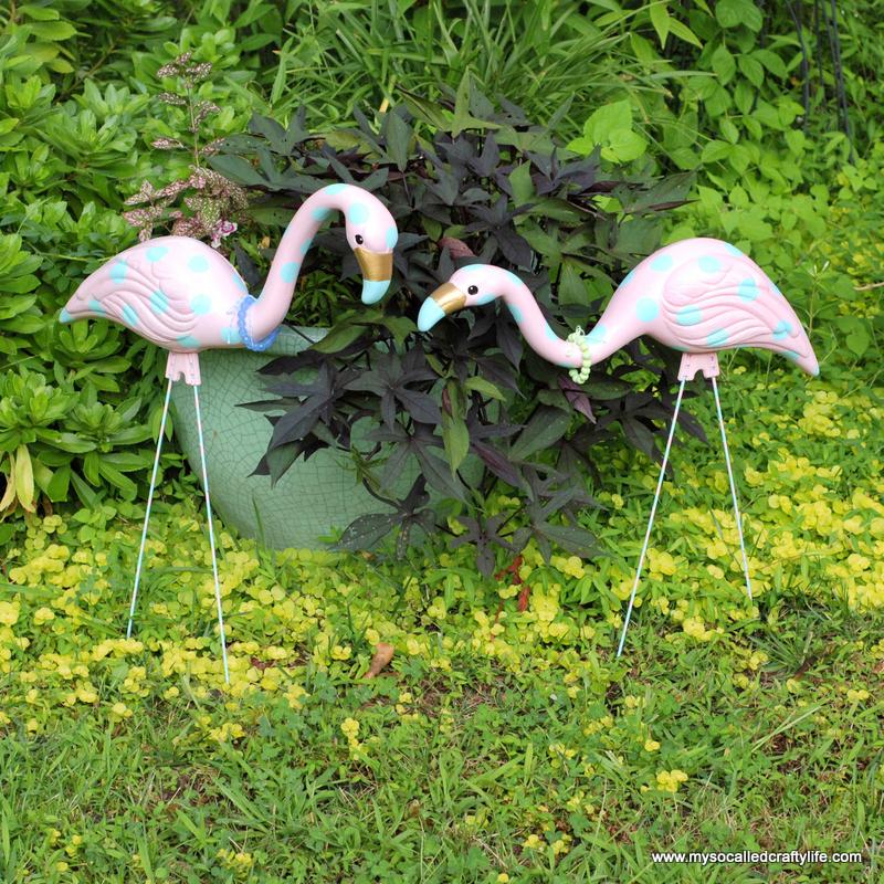 diy upcycled painted flamingos