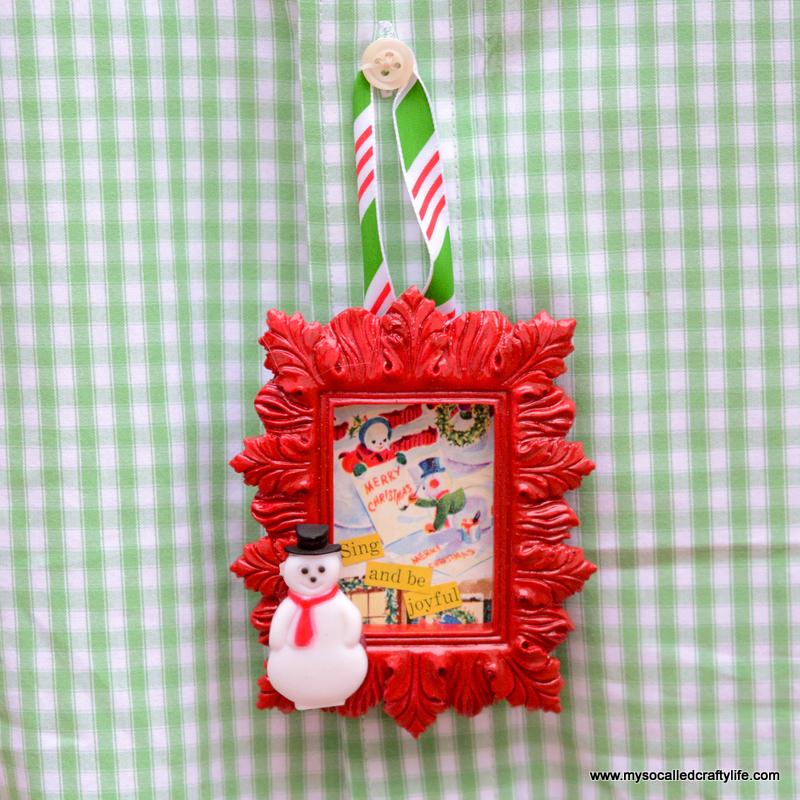 DIY Mini Framed Vintage Christmas Paper Ornaments
