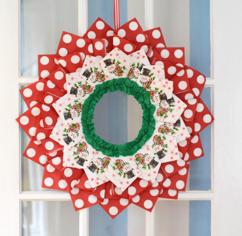 DIY Vintage Christmas Paper Napkin Wreath