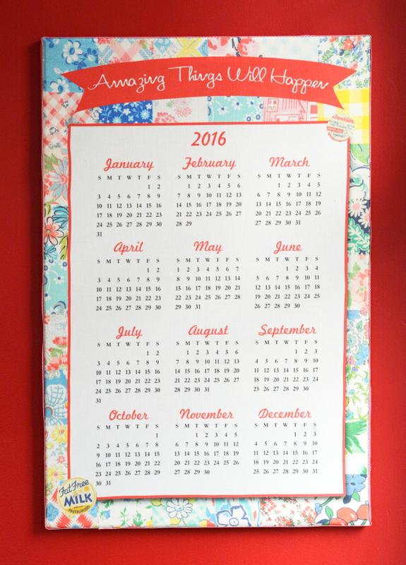 Fat Quarter 2016 Calendar Stretched Canvas