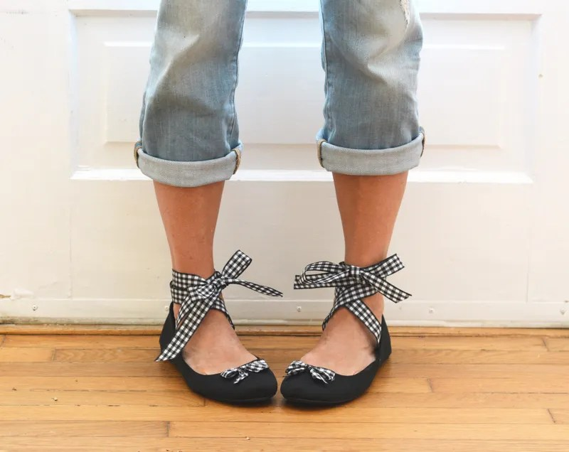 Easy Five Minute Ribbon Ballet Flats