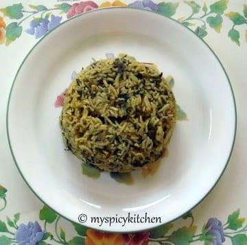 spinach rice, palak rice,