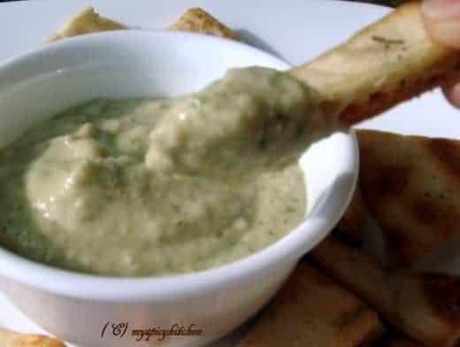 Pita chip with bean dip