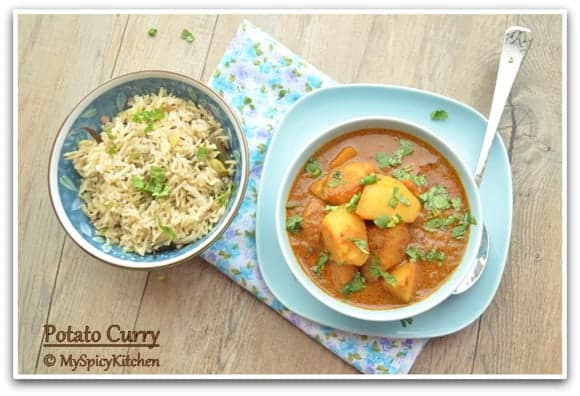 Potato Korma, Blogging Marathon, Aloo Korma, Aloo Curry, Pressure Cooker Recipe