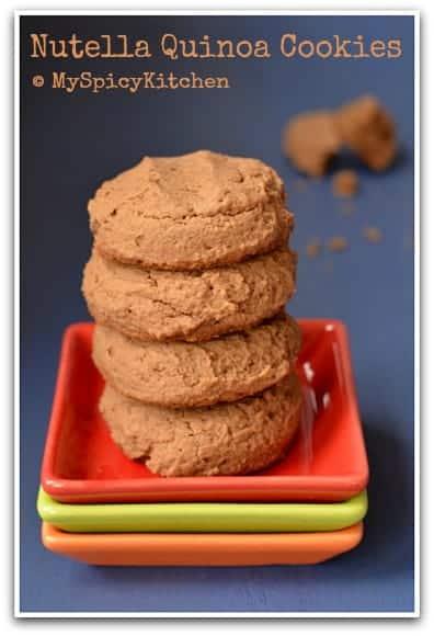 Eggless Nutella Quinoa Cookies, Eggless Cookies, Quinoa Cookies, Blogging Marathon, Baking Marathon, FireUpYourOven