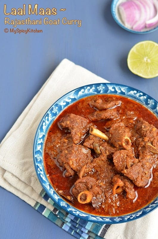 Rajasthani Laal Maas, Buffet on Table, Blogging Marathon, Rajasthani Cuisine, Rajasthani Food, Spicy Mutton Curry, Spicy Goat Curry,
