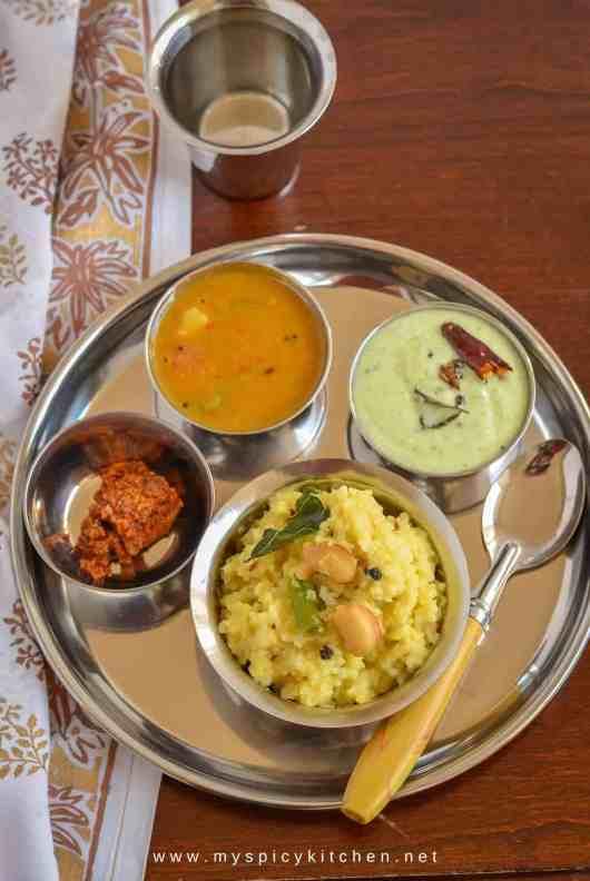 Ven Pongal, Tiffin Sambar, Coconut Yogurt Chutney