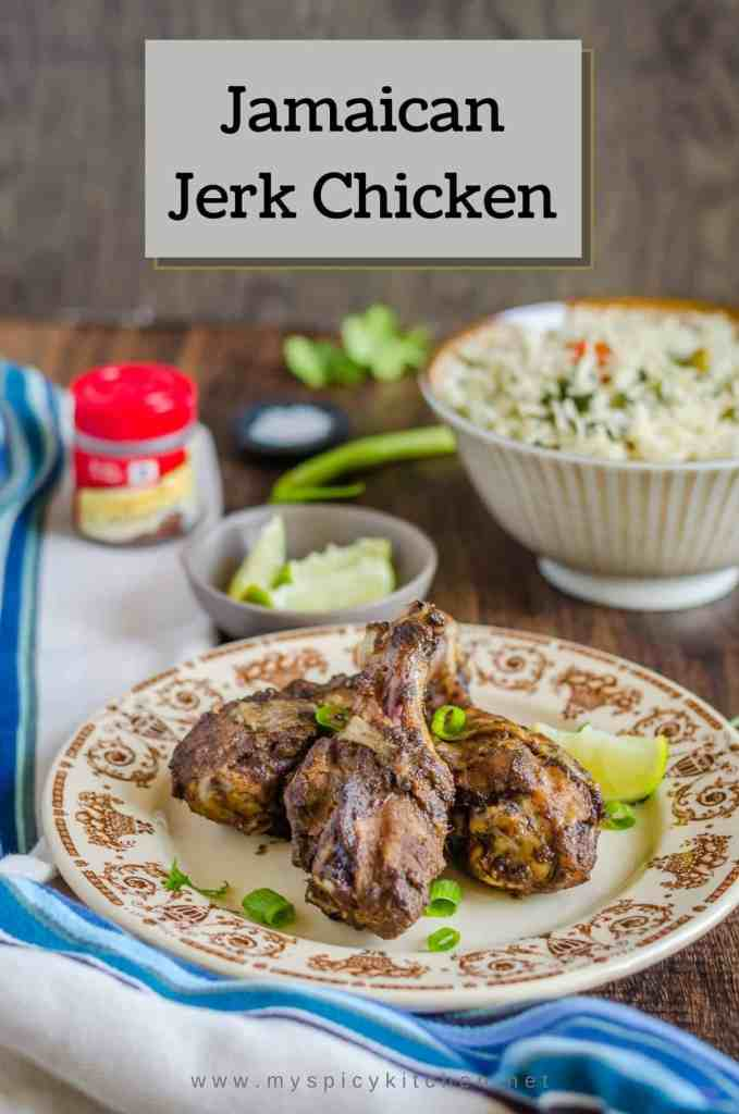Jamaican Jerk Chicken, Caribbean Chicken, Caribbean Food, Jamaican Food, Chicken cooked in jerk style,