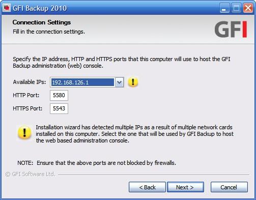GFI Backup connection settings