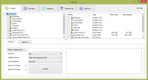 Open ZIP files using Bitser free file compressor for Windows