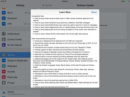 iOS 8.3 Update Change Log