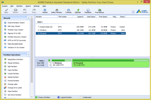 AOMEI Partition Assistant Standard - Non-system drive functions