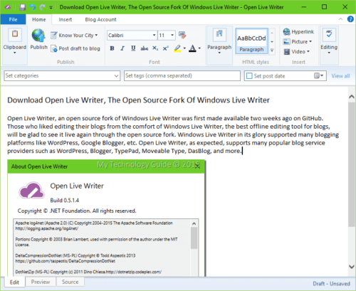 Working with Open Live Writer