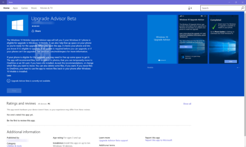 Windows 10 Upgrade Advisor app on Windows Store