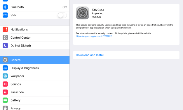 iOS Device Owners Do Not Ignore iOS 9.2.1 Update
