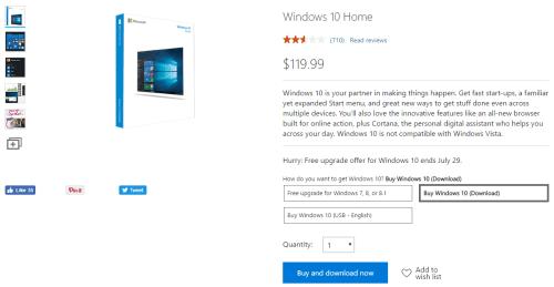 Windows 10 Home Retail Price