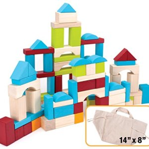 100 Piece Wooden Block Set with Carrying Bag by Imagination Generation