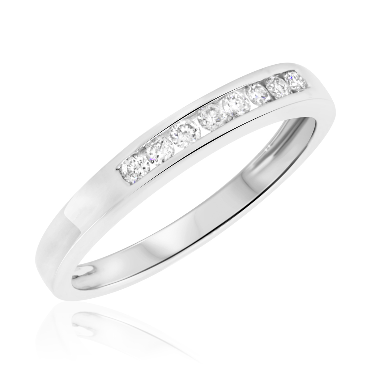 diamond channel set wedding ring white gold white gold wedding band Diamond Channel Set Wedding Ring in 14k White Gold 1 3 ct