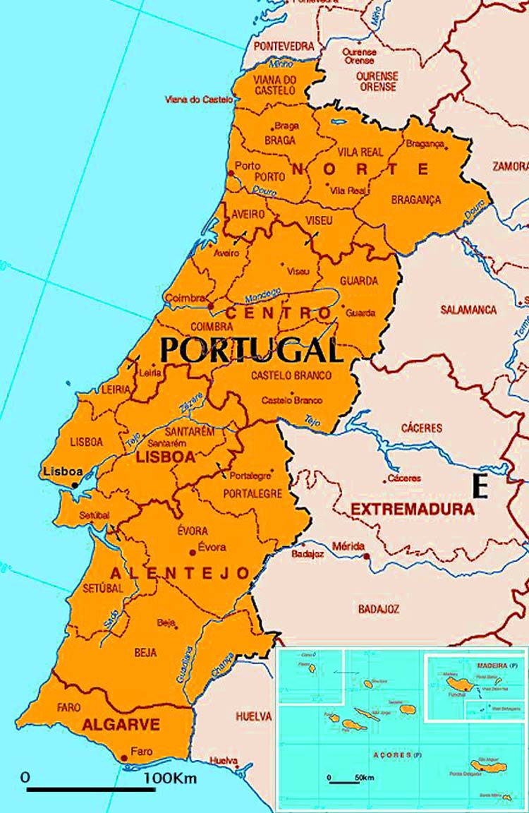 map with portugal