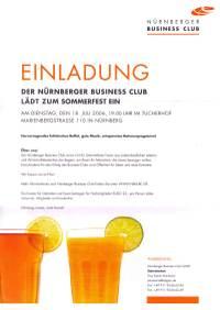 Einladung zum Nürnberger Business Club Sommerfest und schöne Fotos