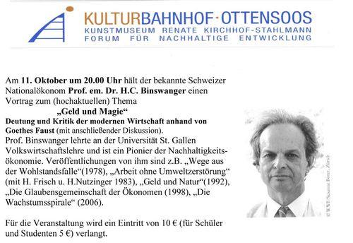 Vortrag von Prof. Binsenwanger im Kulturbahnhof Ottensoos