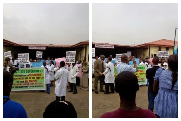 Lagos Doctors Protest Over Non-Payment Of Salary Since July [See Photos]