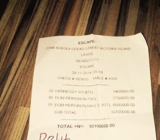 See Someone's Bill At A Nightclub In Lagos Last Night [See Photo]
