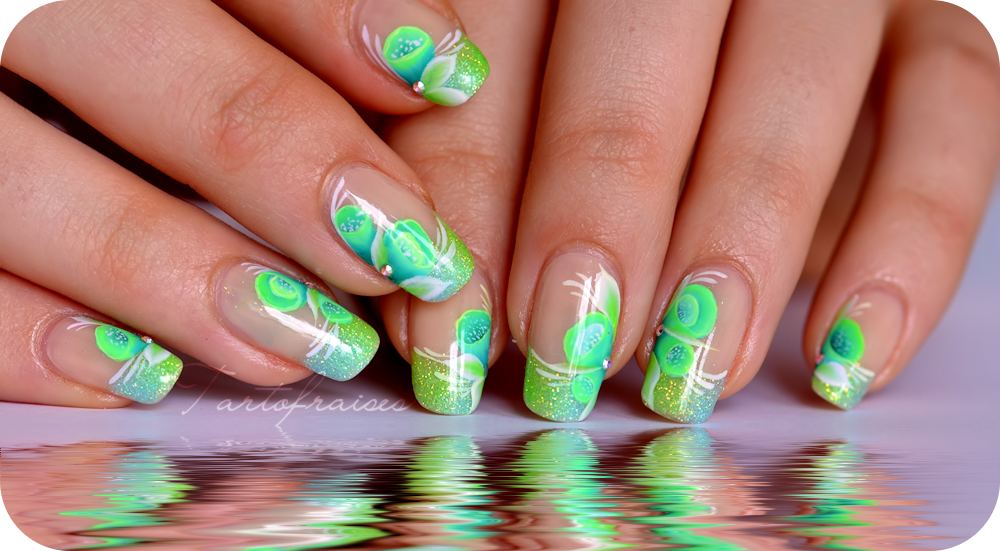 Nail art acidul french manucure paillettes et one stroke fluo tartofraises - Ongles french manucure photos ...