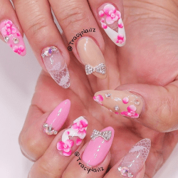 Nail Art Video Tutorial Ombre Flowers and Lace Acrylic Nails