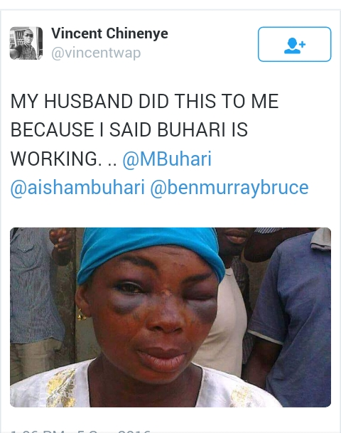 "Husband Beats Wife For Saying ""Buhari Is Working""."