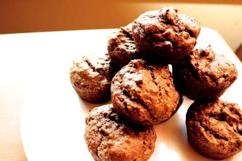 chocolate banana avocado muffins