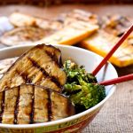 ginger sesame grilled eggplant and fried rice