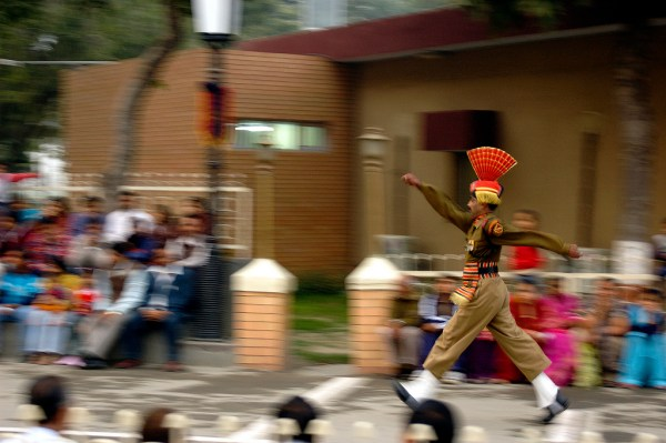 Member of Indian army marching at Wagah Border.